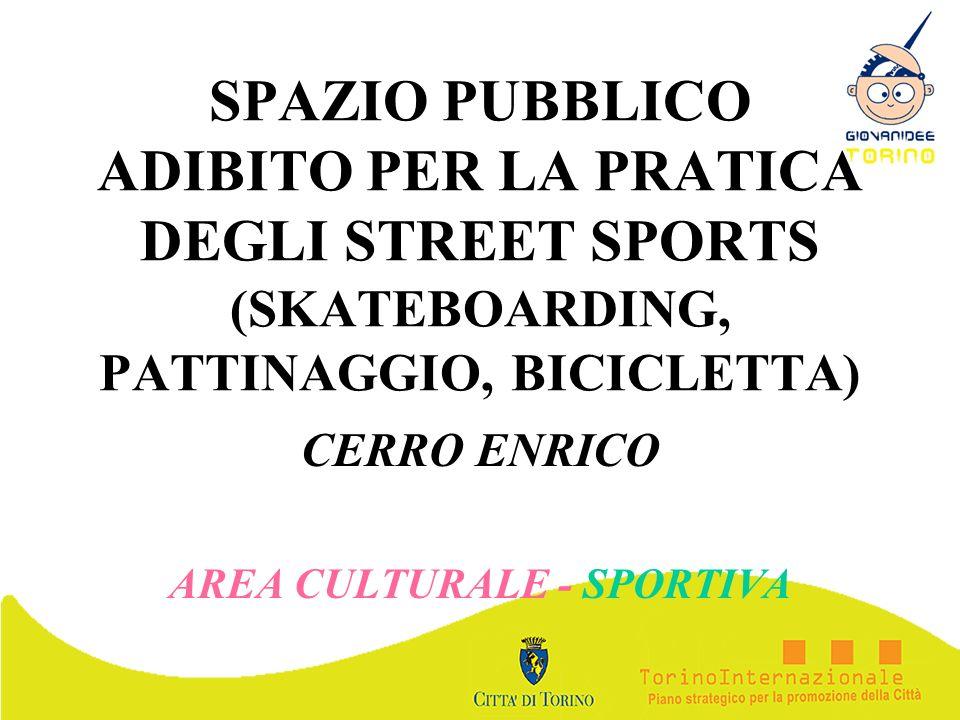 SPAZIO PUBBLICO ADIBITO PER LA PRATICA DEGLI STREET SPORTS (SKATEBOARDING, PATTINAGGIO, BICICLETTA) CERRO ENRICO AREA CULTURALE - SPORTIVA
