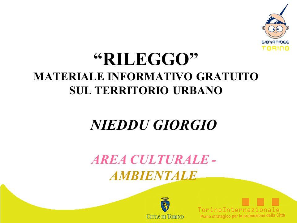 RILEGGO MATERIALE INFORMATIVO GRATUITO SUL TERRITORIO URBANO NIEDDU GIORGIO AREA CULTURALE - AMBIENTALE