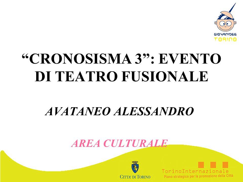 CRONOSISMA 3: EVENTO DI TEATRO FUSIONALE AVATANEO ALESSANDRO AREA CULTURALE