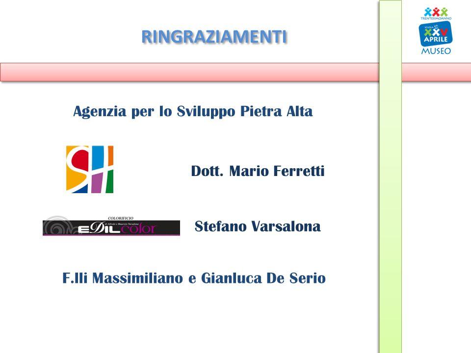 RINGRAZIAMENTI Dott. Mario Ferretti Stefano Varsalona Agenzia per lo Sviluppo Pietra Alta F.lli Massimiliano e Gianluca De Serio