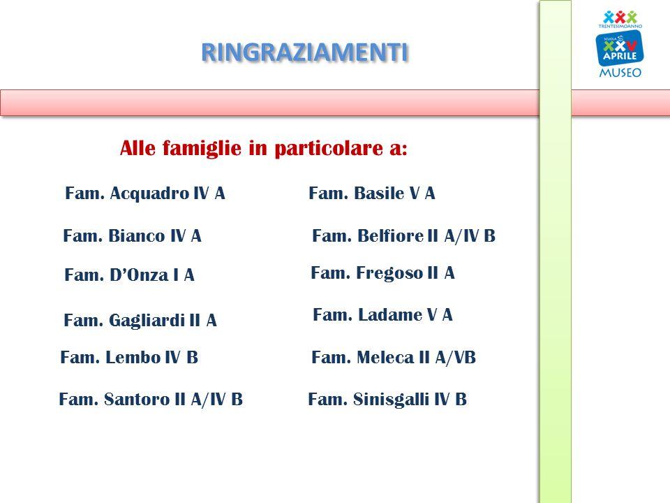 RINGRAZIAMENTI Alle famiglie in particolare a: Fam. Bianco IV A Fam. Basile V A Fam. Sinisgalli IV BFam. Santoro II A/IV B Fam. Gagliardi II A Fam. Fr