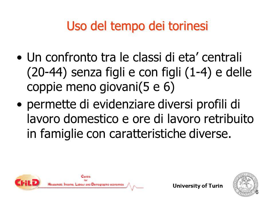 University of Turin 6 Uso del tempo dei torinesi Un confronto tra le classi di eta centrali (20-44) senza figli e con figli (1-4) e delle coppie meno giovani(5 e 6) permette di evidenziare diversi profili di lavoro domestico e ore di lavoro retribuito in famiglie con caratteristiche diverse.