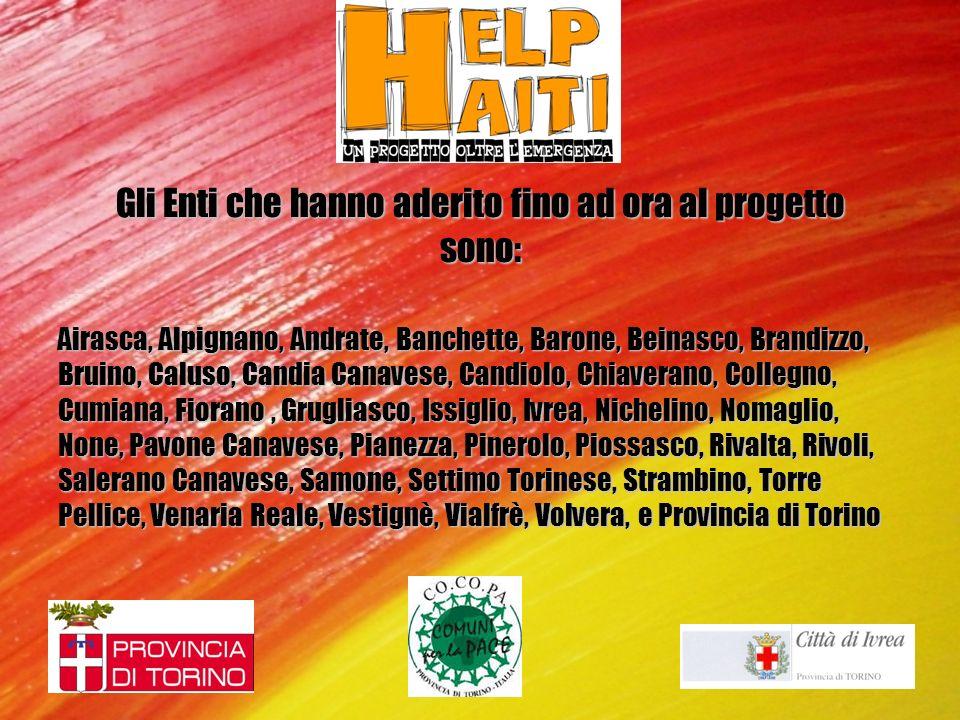 Gli Enti che hanno aderito fino ad ora al progetto sono: Airasca, Alpignano, Andrate, Banchette, Barone, Beinasco, Brandizzo, Bruino, Caluso, Candia C