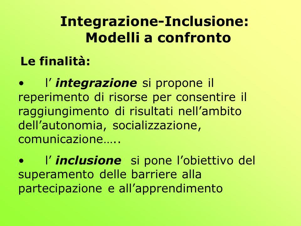 Integrazione-Inclusione: Modelli a confronto Le finalità: l integrazione si propone il reperimento di risorse per consentire il raggiungimento di risultati nellambito dellautonomia, socializzazione, comunicazione…..