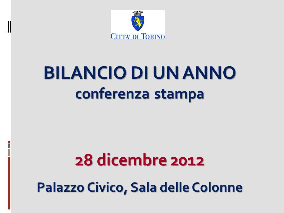 BILANCIO DI UN ANNO conferenza stampa 28 dicembre 2012 Palazzo Civico, Sala delle Colonne