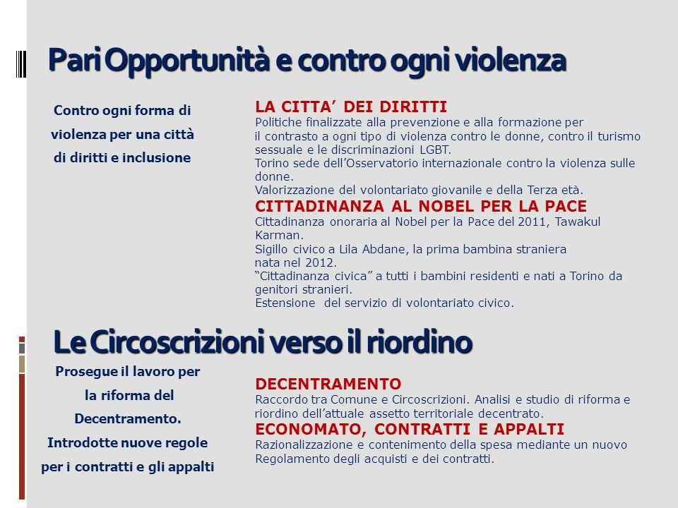 Pari Opportunità e contro ogni violenza Contro ogni forma di violenza per una città di diritti e inclusione LA CITTA DEI DIRITTI Politiche finalizzate