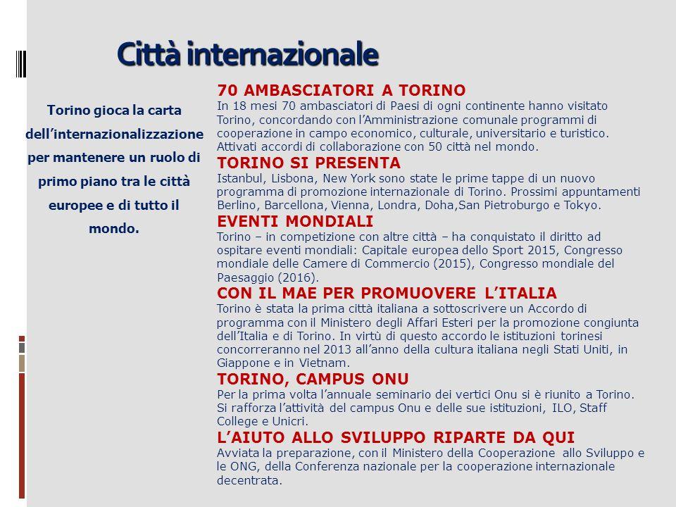 Città internazionale Torino gioca la carta dellinternazionalizzazione per mantenere un ruolo di primo piano tra le città europee e di tutto il mondo.