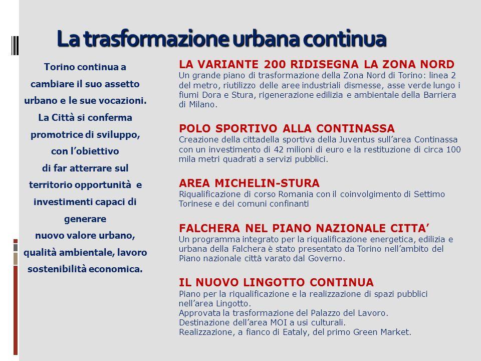 La trasformazione urbana continua Torino continua a cambiare il suo assetto urbano e le sue vocazioni. La Città si conferma promotrice di sviluppo, co