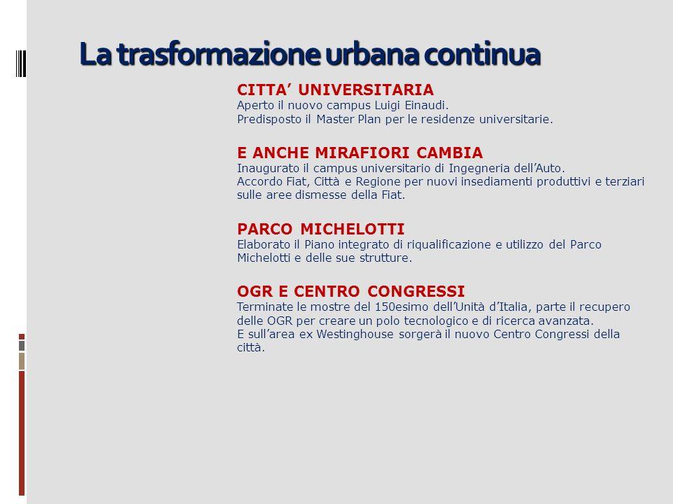 La trasformazione urbana continua CITTA UNIVERSITARIA Aperto il nuovo campus Luigi Einaudi. Predisposto il Master Plan per le residenze universitarie.