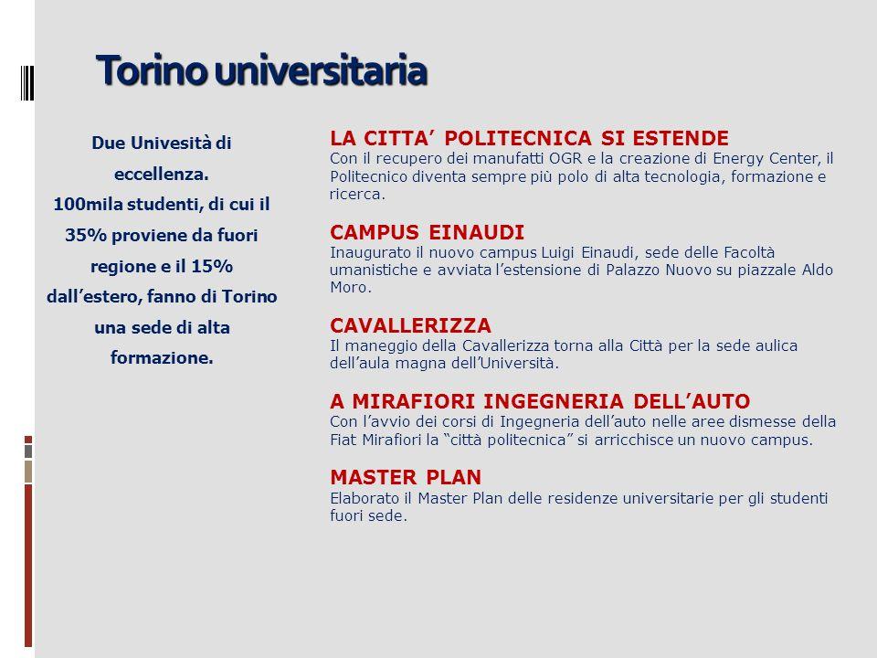 Torino universitaria Due Univesità di eccellenza. 100mila studenti, di cui il 35% proviene da fuori regione e il 15% dallestero, fanno di Torino una s