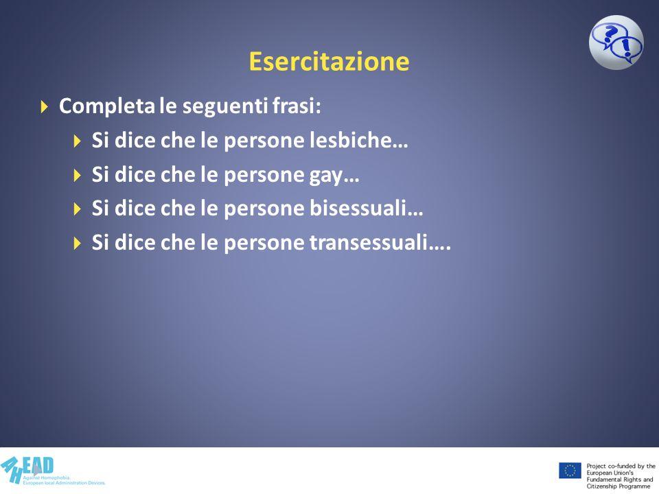 Esercitazione Completa le seguenti frasi: Si dice che le persone lesbiche… Si dice che le persone gay… Si dice che le persone bisessuali… Si dice che le persone transessuali….
