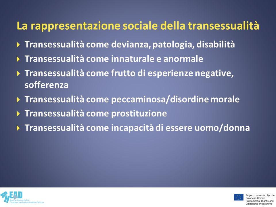 La rappresentazione sociale della transessualità Transessualità come devianza, patologia, disabilità Transessualità come innaturale e anormale Transessualità come frutto di esperienze negative, sofferenza Transessualità come peccaminosa/disordine morale Transessualità come prostituzione Transessualità come incapacità di essere uomo/donna
