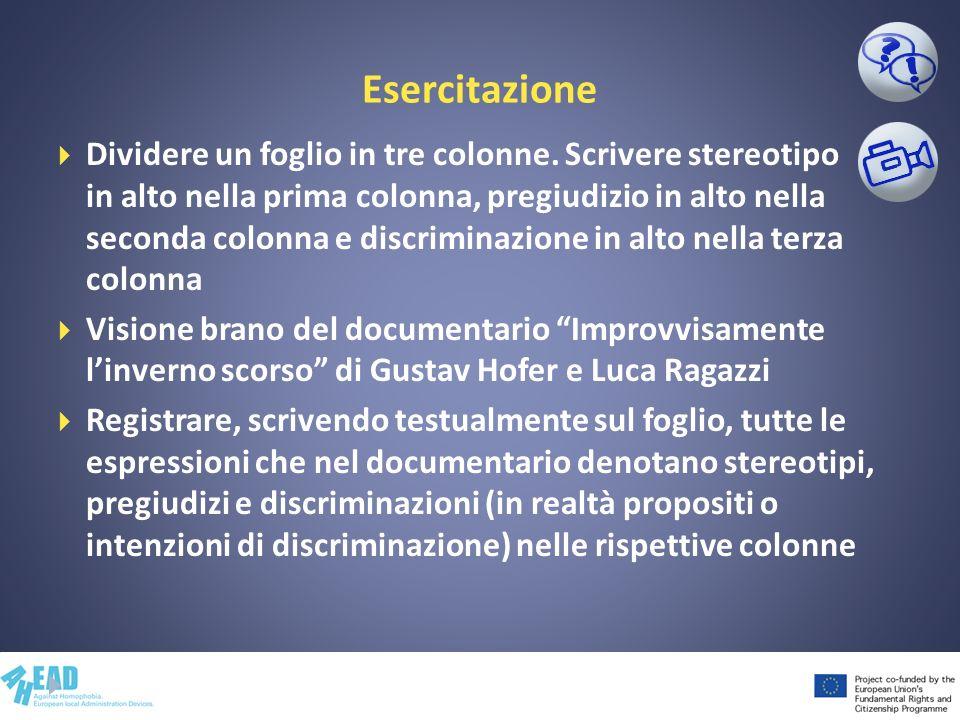 Esercitazione Dividere un foglio in tre colonne. Scrivere stereotipo in alto nella prima colonna, pregiudizio in alto nella seconda colonna e discrimi