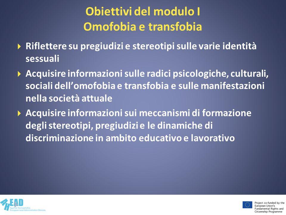 Obiettivi del modulo I Omofobia e transfobia Riflettere su pregiudizi e stereotipi sulle varie identità sessuali Acquisire informazioni sulle radici p