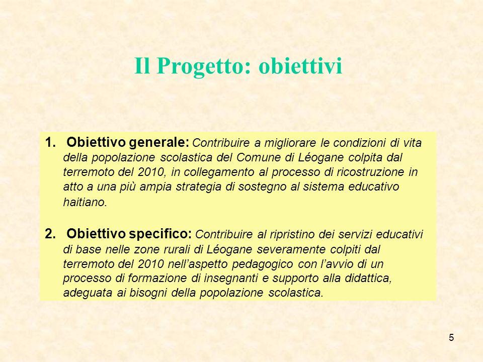 6 Il Progetto: assi di intervento 1.Asse 1: ricostruzione di due scuole di Léogane, in base ai protocolli nazionali di sicurezza (finanziato su altri fondi).