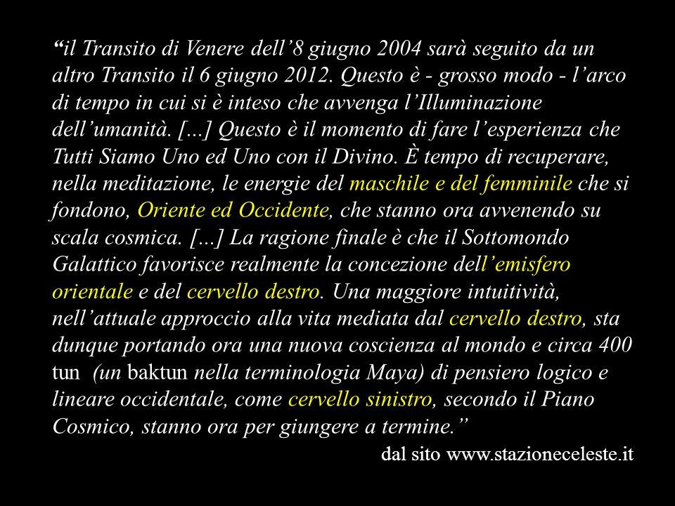 il Transito di Venere dell8 giugno 2004 sarà seguito da un altro Transito il 6 giugno 2012. Questo è - grosso modo - larco di tempo in cui si è inteso