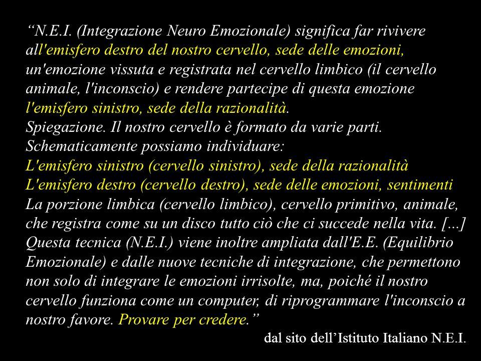 N.E.I. (Integrazione Neuro Emozionale) significa far rivivere all'emisfero destro del nostro cervello, sede delle emozioni, un'emozione vissuta e regi