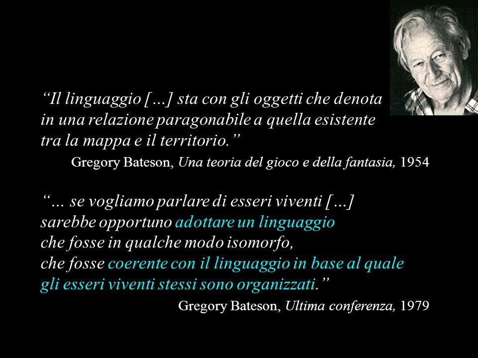 Il linguaggio […] sta con gli oggetti che denota in una relazione paragonabile a quella esistente tra la mappa e il territorio. Gregory Bateson, Una t