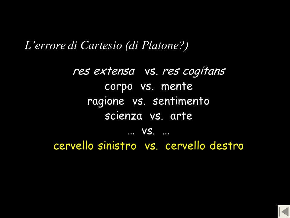 Lerrore di Cartesio (di Platone?) res extensa vs. res cogitans corpo vs. mente ragione vs. sentimento scienza vs. arte … vs. … cervello sinistro vs. c