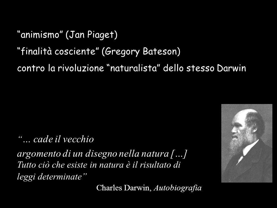 animismo (Jan Piaget) finalità cosciente (Gregory Bateson) contro la rivoluzione naturalista dello stesso Darwin … cade il vecchio argomento di un dis
