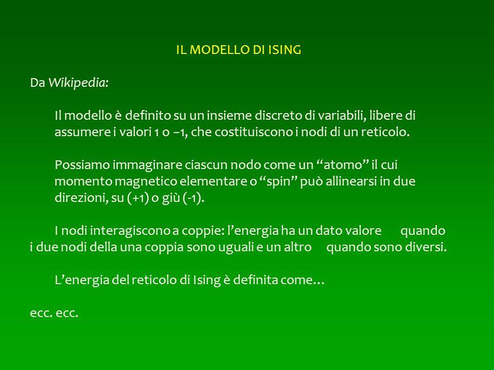 IL MODELLO DI ISING Da Wikipedia: Il modello è definito su un insieme discreto di variabili, libere di assumere i valori 1 o 1, che costituiscono i no