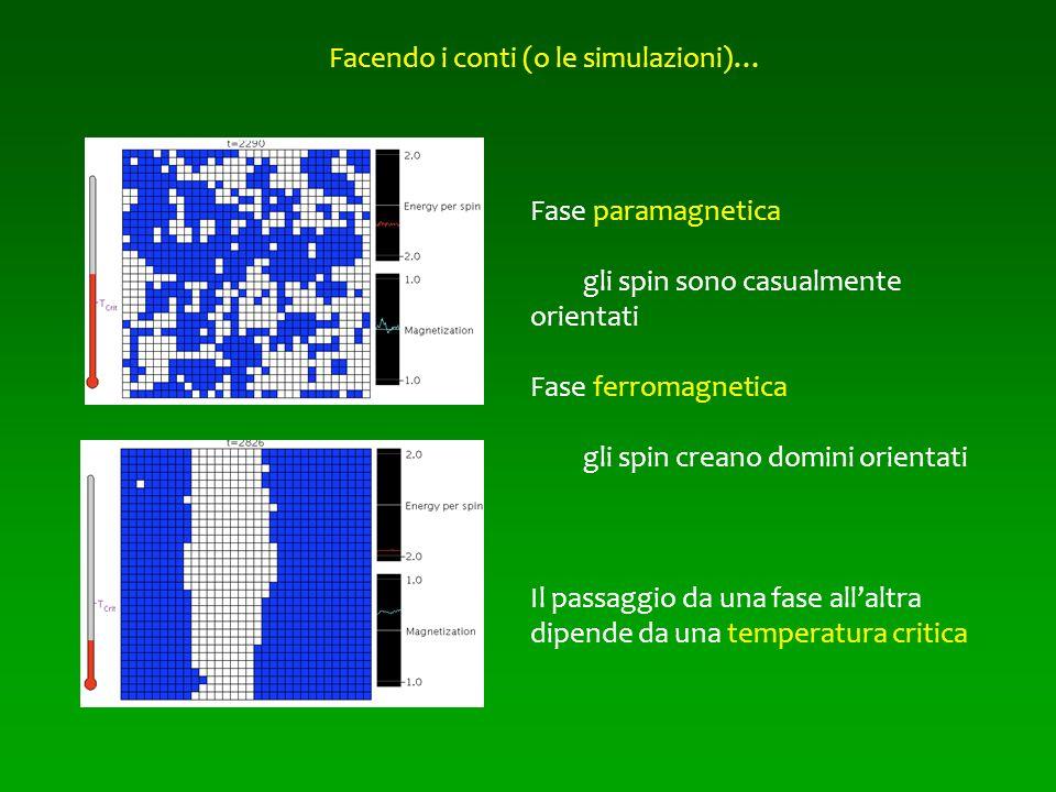 Facendo i conti (o le simulazioni)… Fase paramagnetica gli spin sono casualmente orientati Fase ferromagnetica gli spin creano domini orientati Il pas