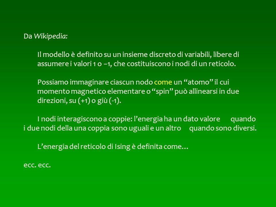 Da Wikipedia: Il modello è definito su un insieme discreto di variabili, libere di assumere i valori 1 o 1, che costituiscono i nodi di un reticolo. P
