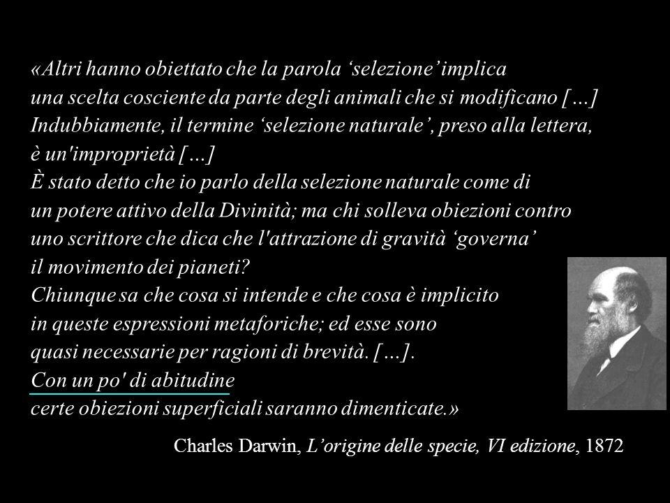«Altri hanno obiettato che la parola selezione implica una scelta cosciente da parte degli animali che si modificano […] Indubbiamente, il termine sel