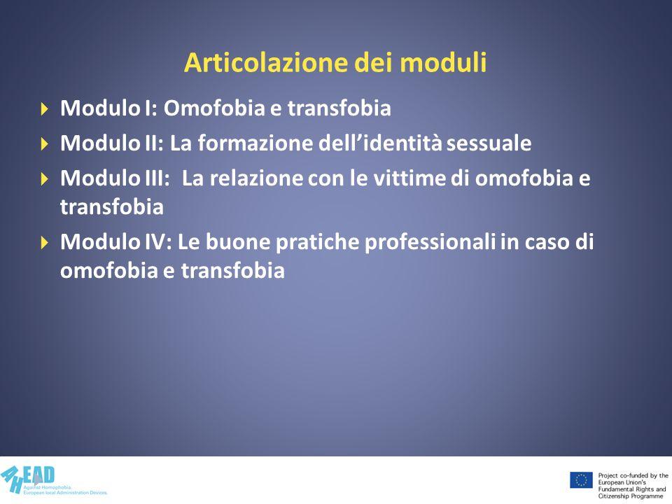 Articolazione dei moduli Modulo I: Omofobia e transfobia Modulo II: La formazione dellidentità sessuale Modulo III: La relazione con le vittime di omo