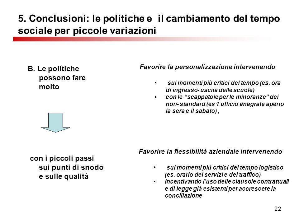 22 5. Conclusioni: le politiche e il cambiamento del tempo sociale per piccole variazioni B.