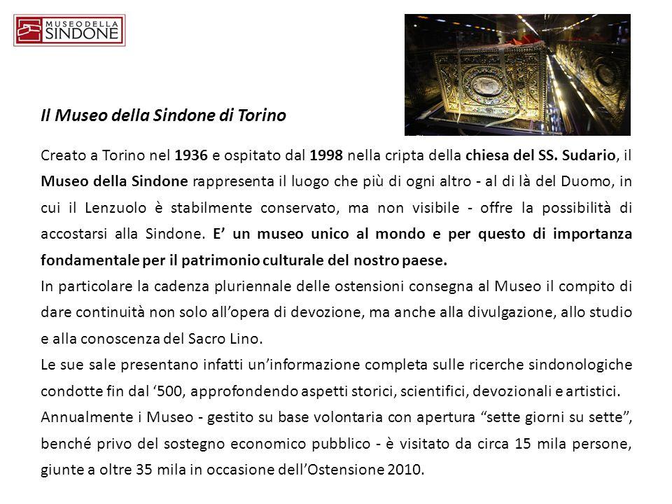 Il Museo della Sindone di Torino Creato a Torino nel 1936 e ospitato dal 1998 nella cripta della chiesa del SS. Sudario, il Museo della Sindone rappre