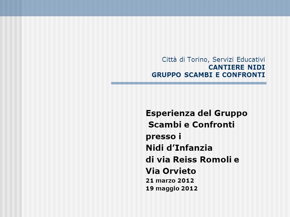 Città di Torino, Servizi Educativi CANTIERE NIDI GRUPPO SCAMBI E CONFRONTI Esperienza del Gruppo Scambi e Confronti presso i Nidi dInfanzia di via Rei