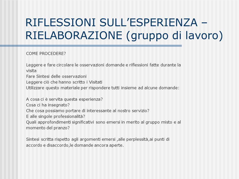 RIFLESSIONI SULLESPERIENZA – RIELABORAZIONE (gruppo di lavoro) COME PROCEDERE? Leggere e fare circolare le osservazioni domande e riflessioni fatte du