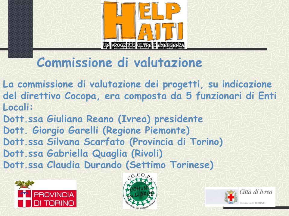 La commissione di valutazione dei progetti, su indicazione del direttivo Cocopa, era composta da 5 funzionari di Enti Locali: Dott.ssa Giuliana Reano (Ivrea) presidente Dott.
