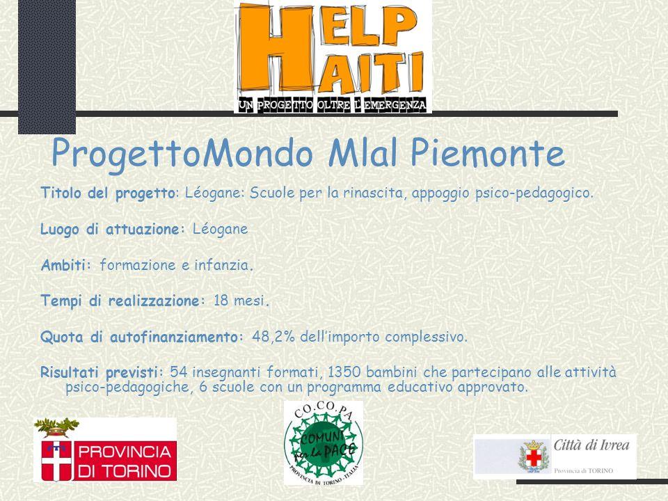 ProgettoMondo Mlal Piemonte Titolo del progetto: Léogane: Scuole per la rinascita, appoggio psico-pedagogico.