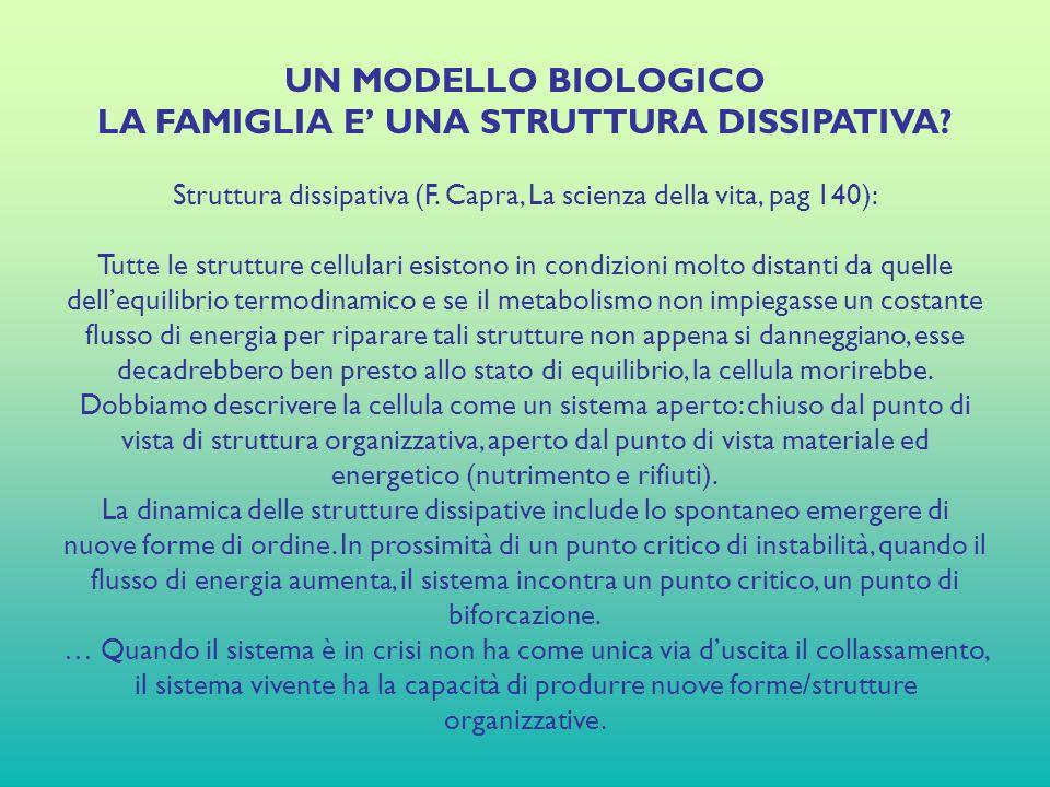UN MODELLO BIOLOGICO LA FAMIGLIA E UNA STRUTTURA DISSIPATIVA.