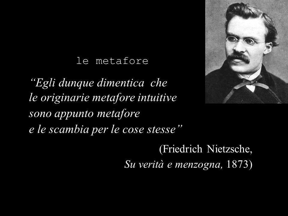 le metafore Egli dunque dimentica che le originarie metafore intuitive sono appunto metafore e le scambia per le cose stesse (Friedrich Nietzsche, Su verità e menzogna, 1873)