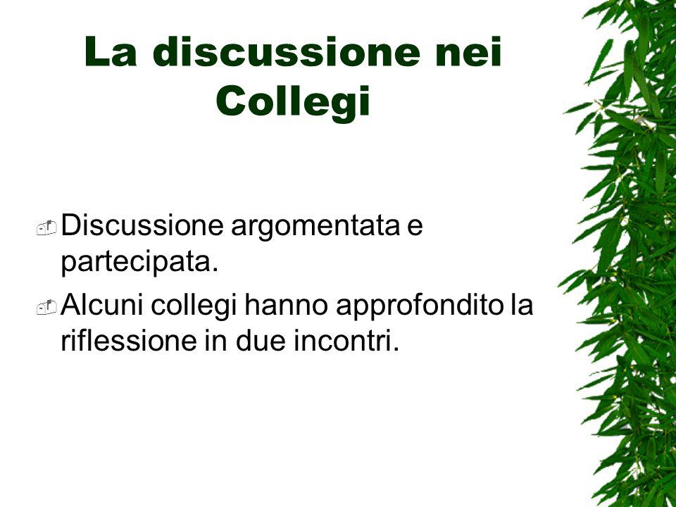La discussione nei Collegi Discussione argomentata e partecipata.