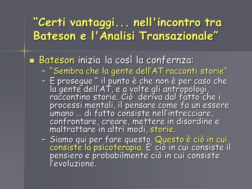 Certi vantaggi... nell'incontro tra Bateson e l'Analisi Transazionale Bateson inizia la così la confernza: Bateson inizia la così la confernza: –Sembr