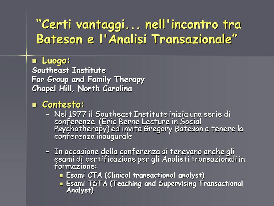 Certi vantaggi... nell'incontro tra Bateson e l'Analisi Transazionale Luogo: Luogo: Southeast Institute For Group and Family Therapy Chapel Hill, Nort
