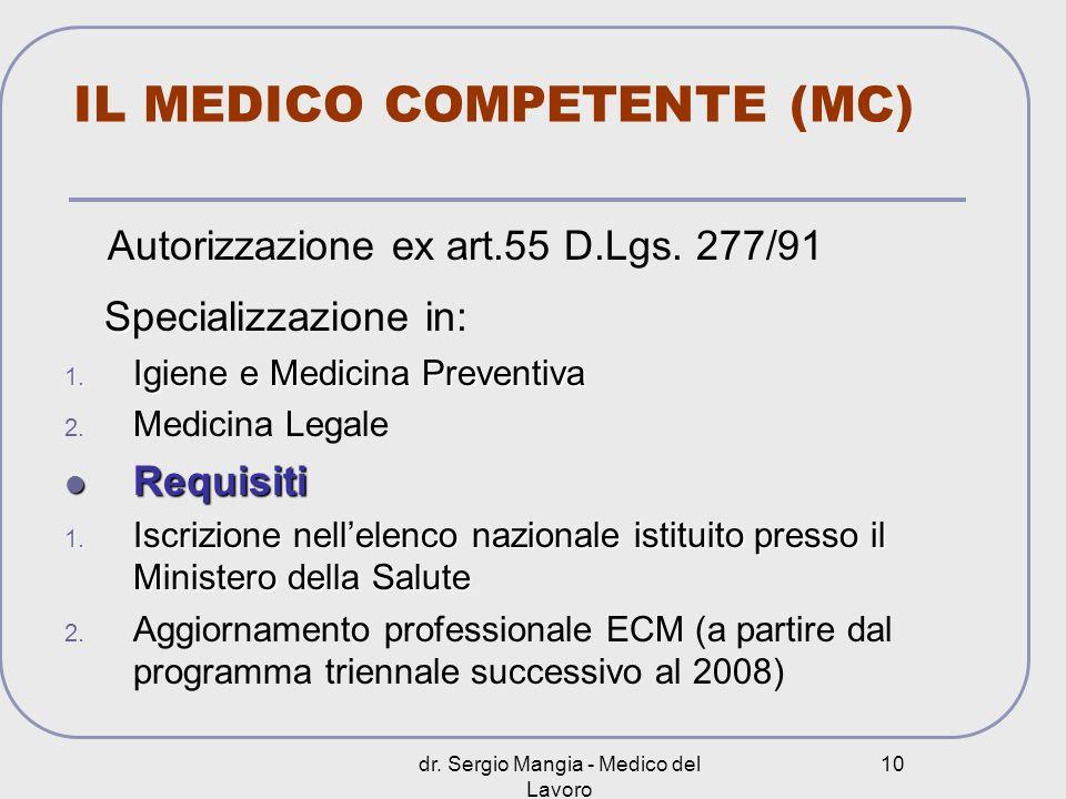 dr. Sergio Mangia - Medico del Lavoro 10 IL MEDICO COMPETENTE (MC) Autorizzazione ex art.55 D.Lgs. 277/91 S Specializzazione in: 1. Igiene e Medicina