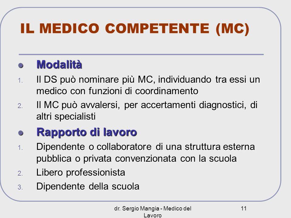 dr. Sergio Mangia - Medico del Lavoro 11 IL MEDICO COMPETENTE (MC) Modalità Modalità 1. Il DS può nominare più MC, individuando tra essi un medico con