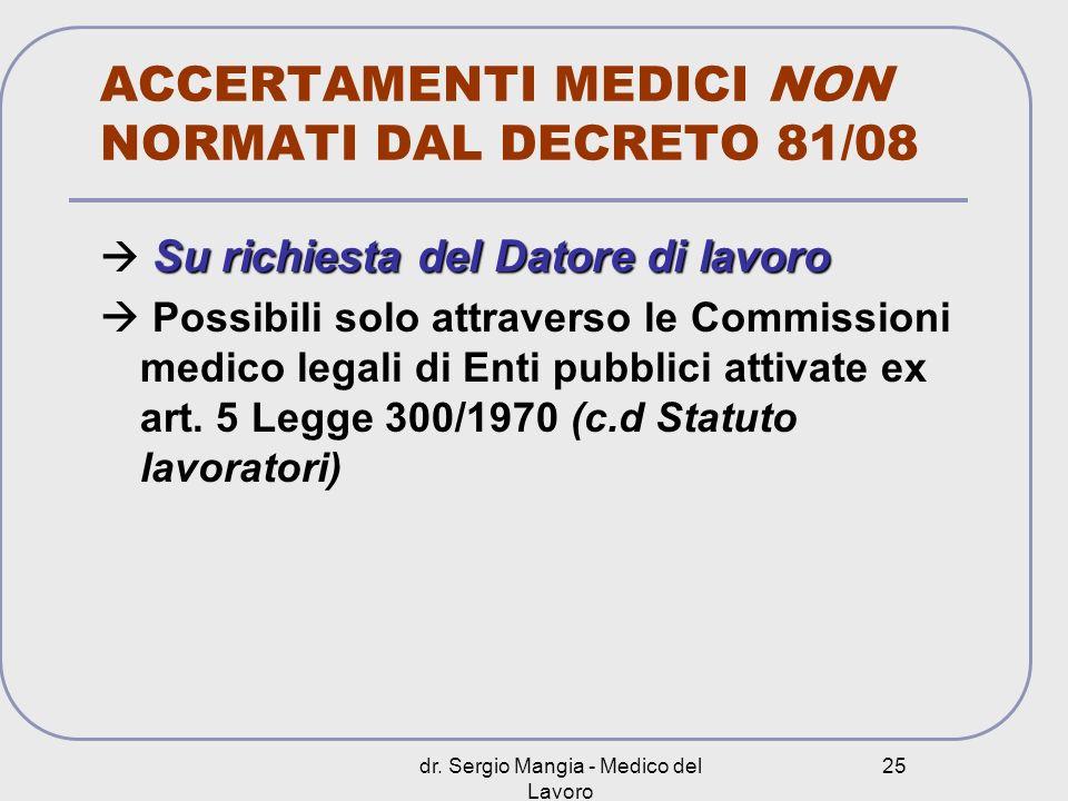 dr. Sergio Mangia - Medico del Lavoro 25 ACCERTAMENTI MEDICI NON NORMATI DAL DECRETO 81/08 Su richiesta del Datore di lavoro Possibili solo attraverso