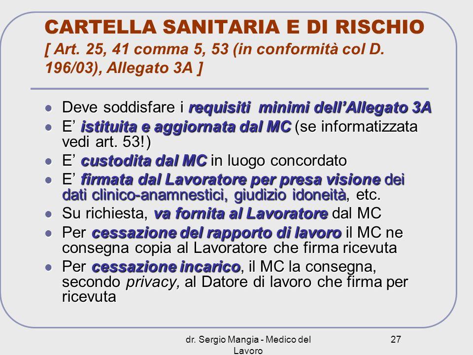 dr. Sergio Mangia - Medico del Lavoro 27 CARTELLA SANITARIA E DI RISCHIO [ Art. 25, 41 comma 5, 53 (in conformità col D. 196/03), Allegato 3A ] Deve s
