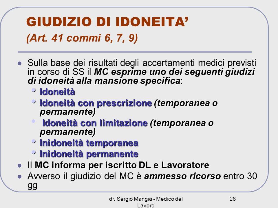 dr. Sergio Mangia - Medico del Lavoro 28 GIUDIZIO DI IDONEITA (Art. 41 commi 6, 7, 9) il MC esprime uno dei seguenti giudizi di idoneità alla mansione