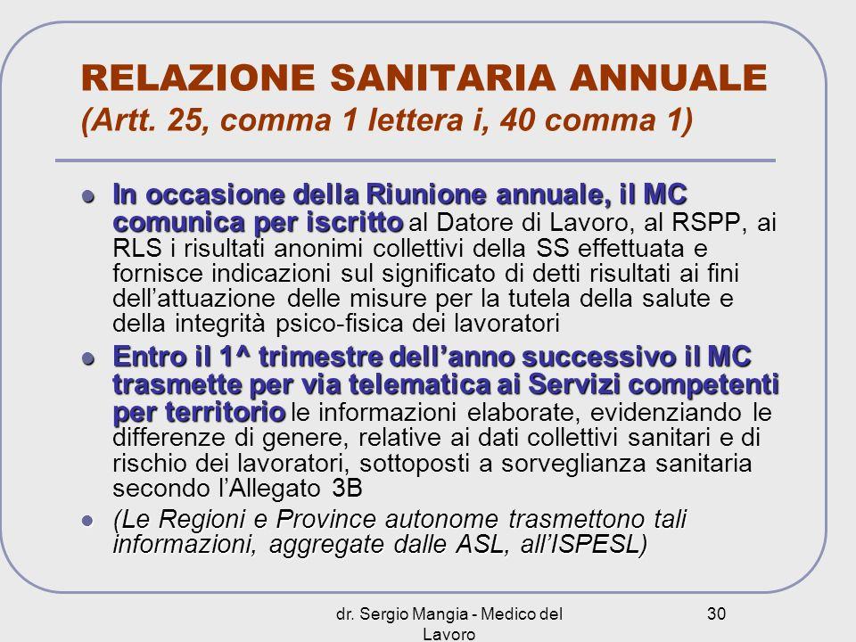 dr. Sergio Mangia - Medico del Lavoro 30 RELAZIONE SANITARIA ANNUALE (Artt. 25, comma 1 lettera i, 40 comma 1) In occasione della Riunione annuale, il