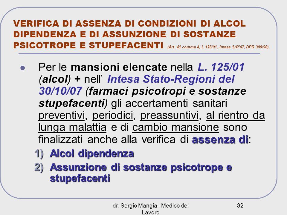 dr. Sergio Mangia - Medico del Lavoro 32 VERIFICA DI ASSENZA DI CONDIZIONI DI ALCOL DIPENDENZA E DI ASSUNZIONE DI SOSTANZE PSICOTROPE E STUPEFACENTI (