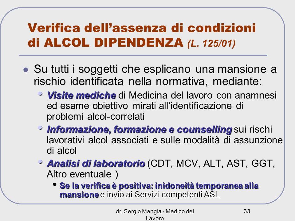 dr. Sergio Mangia - Medico del Lavoro 33 Verifica dellassenza di condizioni di ALCOL DIPENDENZA (L. 125/01) Su tutti i soggetti che esplicano una mans