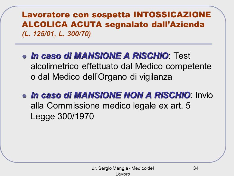 dr. Sergio Mangia - Medico del Lavoro 34 Lavoratore con sospetta INTOSSICAZIONE ALCOLICA ACUTA segnalato dallAzienda (L. 125/01, L. 300/70) In caso di
