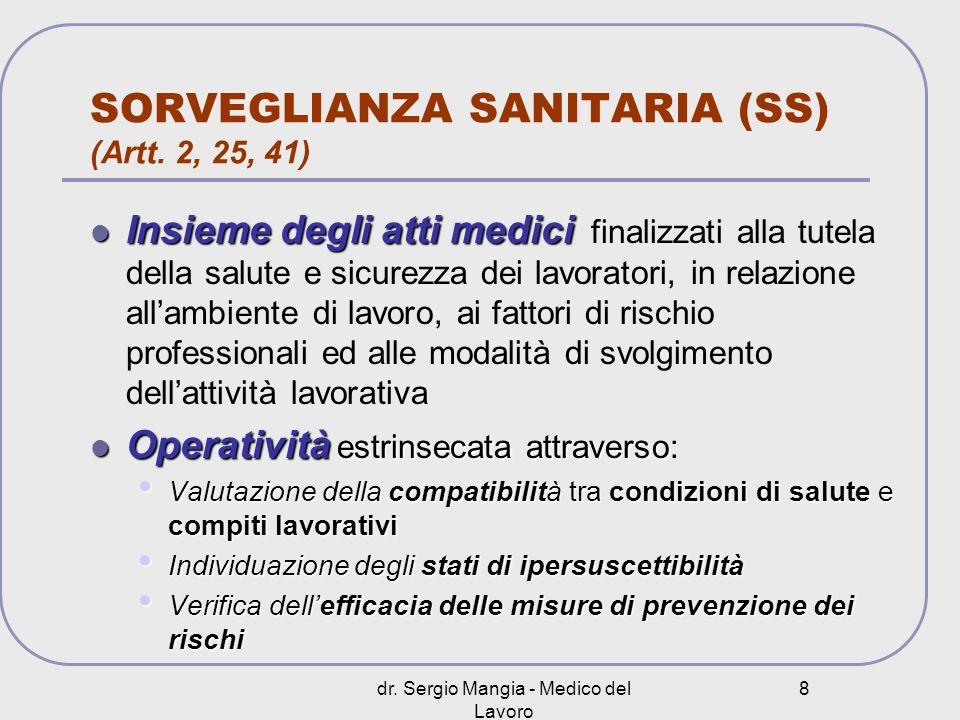 dr. Sergio Mangia - Medico del Lavoro 8 SORVEGLIANZA SANITARIA (SS) (Artt. 2, 25, 41) Insieme degli atti medici Insieme degli atti medici finalizzati